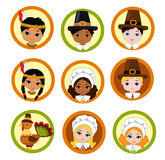 Thanksgiving Pilgrim Kids cupcake toppers. Vector. Stock Photo