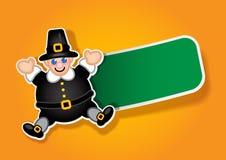 Thanksgiving Pilgrim Label / Sticker Stock Images