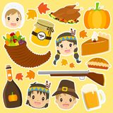 Thanksgiving Characters and Items Cartoon Vector Set. Thanksgiving Pilgrim and Native American characters and items sticker set. Thanksgiving cartoon  collection Royalty Free Stock Photos