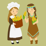 Thanksgiving Pilgrim and Native Girl Harvesting Corn Stock Image