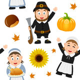 Thanksgiving Pilgrim Seamless Pattern. A seamless pattern with three Pilgrim characters and autumnal elements, on white background. Useful also as design element Royalty Free Stock Photos