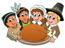 Thanksgiving pilgrim theme vector illustration