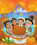 Thanksgiving pilgrim theme 6 royalty free illustration