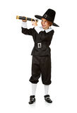Thanksgiving: Pilgrim Using Telescope Royalty Free Stock Photography