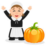 Thanksgiving Pilgrim Woman and Pumpkin Royalty Free Stock Image