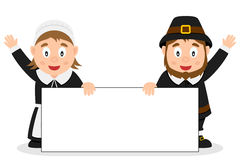 Thanksgiving Pilgrims with Blank Banner Stock Photography