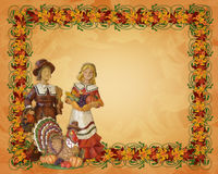 Thanksgiving Pilgrims Border Royalty Free Stock Images