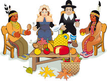 Thanksgiving Pilgrims and Indian Couple. Illustration Thanksgiving Day. Pilgrims and Native American Couple Stock Photo