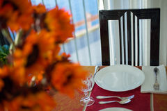 Thanksgiving place setting Stock Photo