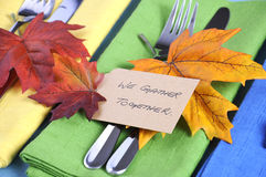 Thanksgiving place settings in blue, green and yellow - closeup. Stock Image