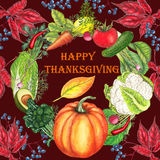 Thanksgiving postcard with hand drawn food Royalty Free Stock Image