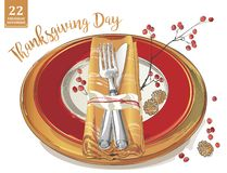 Thanksgiving poster template forks, knives, spoons, empty plate wine glass. stock illustration
