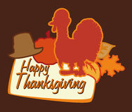 Thanksgiving Poster with Turkey, Vector Illustration Stock Photos