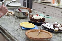 Thanksgiving potluck pies and desserts Royalty Free Stock Images