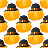 Thanksgiving Pumpkin with Hat Seamless Royalty Free Stock Photo