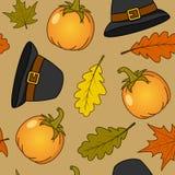Thanksgiving Pumpkin & Hat Seamless Royalty Free Stock Image