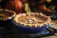 Thanksgiving Pumpkin Pie and Spices stock images