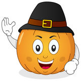 Thanksgiving Pumpkin with Pilgrim Hat Stock Photos