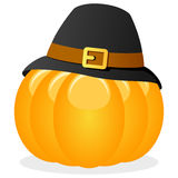 Thanksgiving Pumpkin with Pilgrim Hat Royalty Free Stock Photography