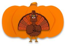 Thanksgiving Pumpkin With Turkey On White Background. Thanksgiving turkey and pumpkin over a white background royalty free illustration