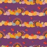 Thanksgiving pumpkins cranberries turkey seameless pattern royalty free illustration