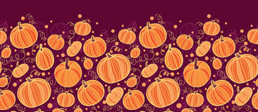 Thanksgiving pumpkins horizontal border seamless Stock Images