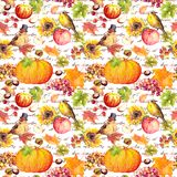 Thanksgiving repeating pattern - birds, fruits, vegetables - pumpkin, apples, grape with autumn leaves. Vintage stock illustration