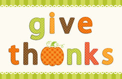 Thanksgiving retro applique of fabric gingham letters and cute pumpkin in autumn colors Stock Photos