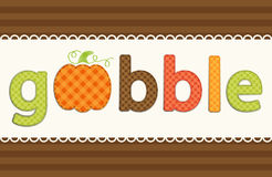 Thanksgiving retro applique of fabric gingham letters and cute pumpkin in autumn colors Stock Image