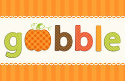 Thanksgiving retro applique of fabric gingham letters and cute pumpkin in autumn colors Royalty Free Stock Photos