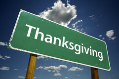 Thanksgiving Road Sign with Dramatic Clouds royalty free stock photography
