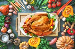 Thanksgiving roast turkey with autumn fruits and vegetables stock photography