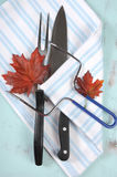 Thanksgiving roast turkey carving utensils set with pale blue stripe apron - vertical. Stock Photo