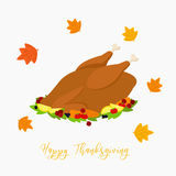 Thanksgiving Roasted Turkey Vector. A delicious Thanksgiving roasted turkey, circle maple leafs vector Stock Images