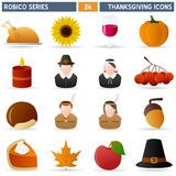 Thanksgiving - Robico Series. Collection of 16 colorful Thanksgiving Day icons, isolated on white background. Robico Series: check my portfolio for the complete Stock Images