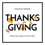 Thanksgiving autumn sale poster fall discount promo shop offer vector web banner. Thanksgiving sale or autumn fall season discount promo offer poster for 70 Royalty Free Stock Photo