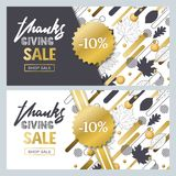 Thanksgiving sale banner set with outline fall leaves and geometric shapes. Vector fall poster golden background. Royalty Free Stock Images