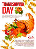 Thanksgiving sale banner template with cornucopia Royalty Free Stock Image