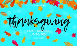 Thanksgiving sale poster autumn promo discount web banner vector leaf background template Royalty Free Stock Photography