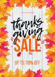 Thanksgiving sale poster autumn promo discount fall web banner vector leaf template. Thanksgiving autumn shop sale web banner or store promo discount poster royalty free illustration