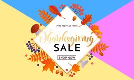 Thanksgiving sale poster autumn promo discount golden web banner vector leaf template Royalty Free Stock Images