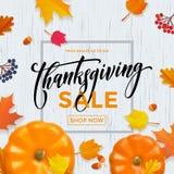 Thanksgiving sale poster autumn pumpkin promo discount web banner vector leaf template Stock Photo