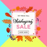 Thanksgiving autumn sale poster fall discount promo shop offer vector background design. Thanksgiving sale shop poster or autumnal fall shopping promo web banner stock illustration