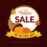 Thanksgiving sale template or flyer design with 50% discount off. Er, pumpkins, shofar horn on brown background stock illustration