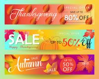 Thanksgiving Sale. Web banners set. Autumn Sale discount gift cards. Fall maple leaves foliage pumpkin abstract background. Save up to half price leaflet. Shop Stock Photos