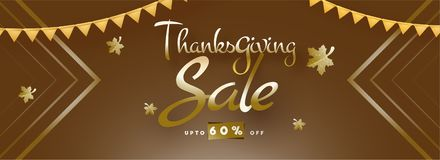 Thanksgiving sale website banner design with 60% discount offer. On shiny brown background vector illustration