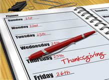 Thanksgiving Schedule. Digital illustration of Thanksgiving entry made in a Daily Planner Royalty Free Stock Images