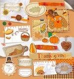 Thanksgiving scrapbook set Royalty Free Stock Photos