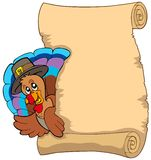 Thanksgiving scroll with turkey 1 Stock Images