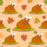 Thanksgiving seamless background with cooked turke Stock Photos